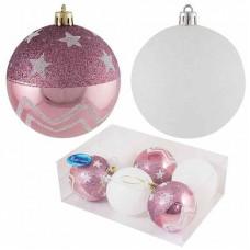 Набор елочных шаров 6шт. 8см розовый + белый Волшебная страна