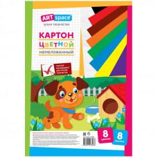 """Картон цветной А4 8л. 8 цв., немелованный, в папке  ArtSpace """"Собачка"""""""