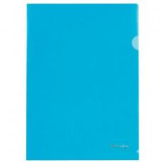 Папка-уголок А4 100мкм синяя BRAUBERG