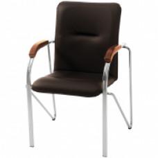 """Стул Furniture """"Самба"""", каркас металл хром, обивка кожзам черный"""