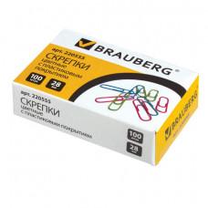 Скрепки 28 мм 100шт/уп цветные BRAUBERG