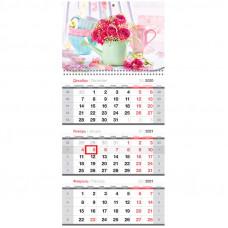 """Календарь квартальный 3 бл. на 1 гр. OfficeSpace """"Розовый букет"""", с бегунком, 2021г."""