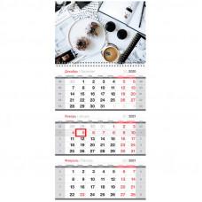 "Календарь квартальный 3 бл. на 1 гр. OfficeSpace ""Coffee break"", с бегунком, 2021г."