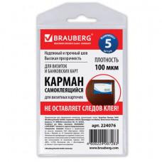 Карман самоклеящиеся 65х98 мм, для визитных карточек ком 5 шт  BRAUBERG