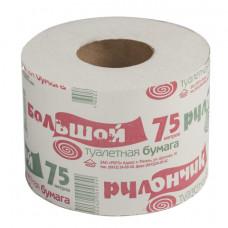 """Туалетная бумага бытовая 75 м, на втулке (эконом), """"Рулончик большой"""""""