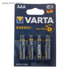 Батарейка алкалиновая, VARTA ENERGY, ААА, LR03-4BL, 1.5 B, блистер, 1шт., 5217292