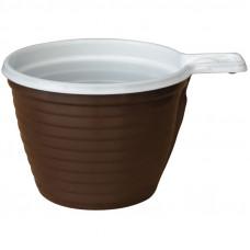 Чашки одноразовые для кофе OfficeClean, эконом, ПП, бело-коричневые, 200мл, хол/гор, уп. 50шт.
