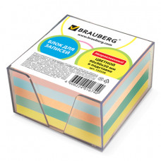 Блок для записей 90х90х50 мм цветной в прозрачной подставке BRAUBERG