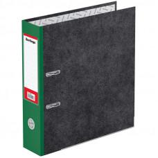 "Папка-регистратор 80 мм мрамор зеленый кор.,  метал. кант с карманом на корешке Berlingo ""Hyper"""