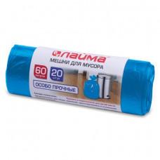 Мешки для мусора 60л 20шт/рул. 30  мкм ЛАЙМА  рулон, ПНД особо прочные, синие