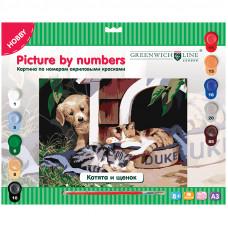 """Картина по номерам А3 """"Котята и щенок"""" с акриловыми красками"""