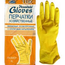 Перчатки  р S хоз. латексные Gloves LUX с х/б напылением