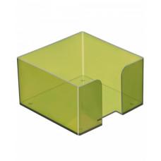 """Подставка для бумажного блока 9х9х5 см тонированная """"Лайм"""" СТАММ"""