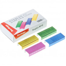 Скобы №10 для степлера  Berlingo, цветные 1000шт
