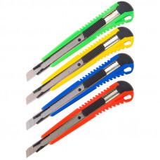 Нож 9 мм канцелярский OfficeSpace, усиленный,с фиксатором, металл. направляющие, ассорти, европодвес
