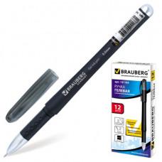 """Ручка гелевая черная 0,5 мм.  BRAUBERG """"Impulse"""", корпус черный, игол., резиновый держатель."""