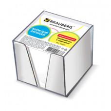Блок для записей 90х90х90 мм белый в прозрачной подставке BRAUBERG,  белизна 95-98%,