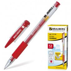 """Ручка гелевая красная 0,5 мм. резиновый упор, BRAUBERG """"Number One"""",  линия 0,35 мм,"""