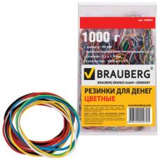 Банковская резинка 1000 гр. BRAUBERG цветные, натуральный каучук