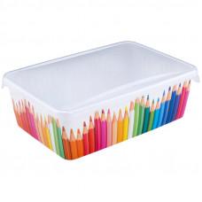 """Лоток для хранения детский LittleAngel """"Карандашница"""", 20,5*14*7см, с крышкой, рисунок"""