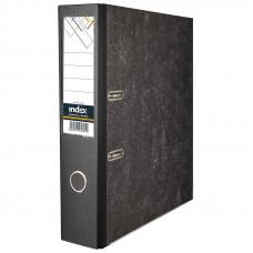 Папка-регистратор 80 мм мрамор черная с мет.угол. с карманом