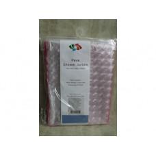 Штора д/ванной розовая с белой голограф.полосой 12 крючков 180*180см