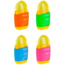 Точилка пластиковая+ластик с/к 1 отверстие Berlingo ассорти
