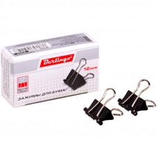 Зажимы д/бумаг 15 мм, 12шт/уп.,Berlingo черные, картонная коробка