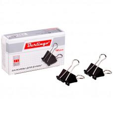 Зажимы д/бумаг 25мм, 12шт/уп., Berlingo,  черные, картонная коробка