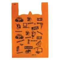 Пакет майка 35+16*55 16мкм Электроника оранж.