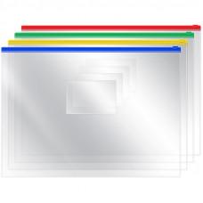 Папка-конверт на молнии OfficeSpace, A4, 120мкм, прозрачная