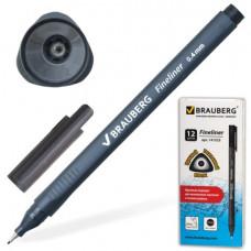 """Ручка капиллярная  0,4 мм, черная BRAUBERG """"Carbon""""  метал. наконечник, трехгранная,"""