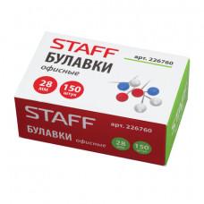 Булавки офисные 28 мм STAFF, 150 шт., в картонной коробке, 226760