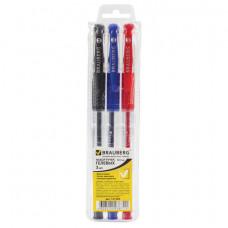 """Набор гелевых ручек 03 цв. 0,5 мм. BRAUBERG  """"Number One"""", линия 0,35 мм,(синяя, черная, красная)"""