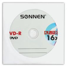 Диск DVD-R SONNEN, 4,7 Gb, 16x, бумажный конверт (1 штука)