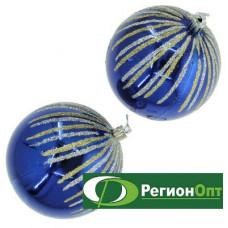 Набор елочных шаров 2шт. 10см брызги золото/серебро на синем
