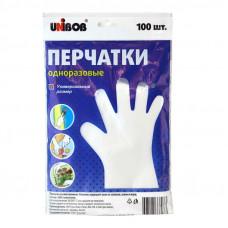 Перчатки полиэтиленовые одноразовые , комплект 50 пар (100 шт.), размер универсальный, Unibob