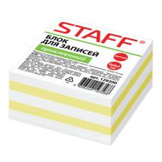 Блок для записей 90х90х50 мм цветной проклеенный STAFF  чередование с белым, 129200