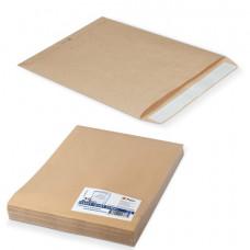 Конверт-пакет Е4+ плоский, комплект 25 шт., 300х400 мм, отр. лента, крафт-бумага, коричневый