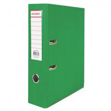 Папка-регистратор 80 мм ПВХ зеленая, с угол.,  (удвоенный срок службы )BRAUBERG