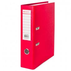 Папка-регистратор 80 мм ПВХ красная, с угол.,  (удвоенный срок службы )BRAUBERG