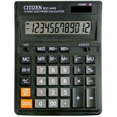 Калькулятор настольный 12 разрядов,  Citizen SDC-444S двойное питание, 153*199*31 мм, черный