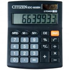 Калькулятор настольный 08 разр. Citizen SDC-805BN , двойное питание, 102*124*25 мм, черный