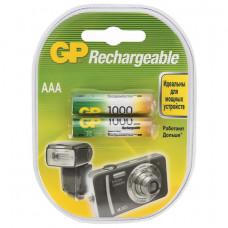 Батарейки аккумуляторные GP, AAA, Ni-Mh, 1000 mAh, 2 шт., в блистере, 100AAAHC2DECRC2