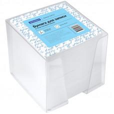 Блок для записей 90х90х90 мм белый в прозрачной подставке OfficeSpace