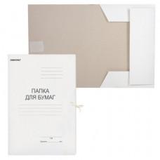 Папка для бумаг с завязками 220г/м2, картон немелованый, до 200 листов, ОФИСМАГ