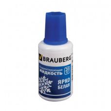 Корректирующая жидкость 20 мл BRAUBERG на спиртовой основе, ярко-белая