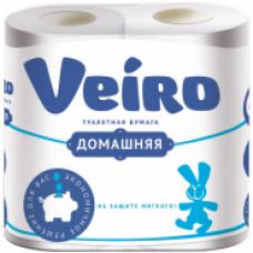 """Туалетная бумага 2-х сл. 4шт/уп тиснение белая Veiro """"Домашняя"""""""