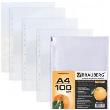 Файл-вкладыш А4 45 мкм апельсиновая корка ком ( 100шт) BRAUBERG