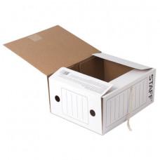 Папка архивная 150 мм, белый из микрогофрокартона с завязками до 1400 листов, белая, STAFF